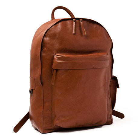 Traveler Leather Backpack // Pebbled Brown