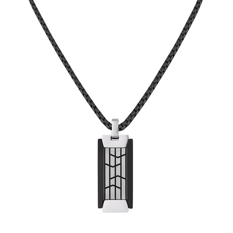 Vertical Tag Necklace // Silver + Black