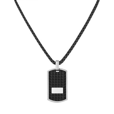 Textured Tag Necklace // Black