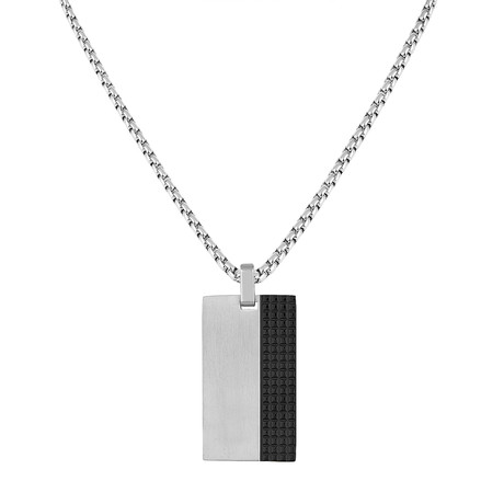 Tag Necklace // Silver + Black