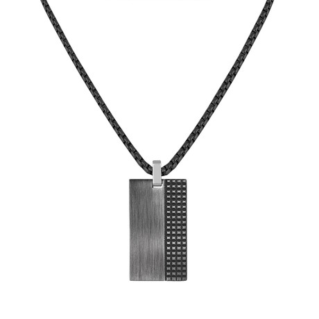 Textured Tag Necklace // Gray