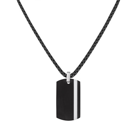Stripe Tag Necklace // Black + White