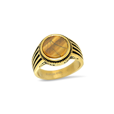18K Gold Plated Tiger Eye Ring // Yellow (Size 9)