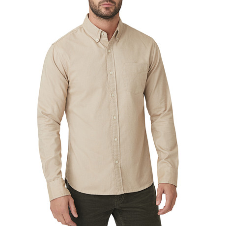 Italian Brushed Khaki Oxford Button Down Shirt // Tan (S)