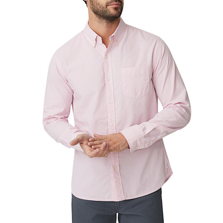 Light Pink Micro Gingham Button Down Shirt // Light Pink (S)
