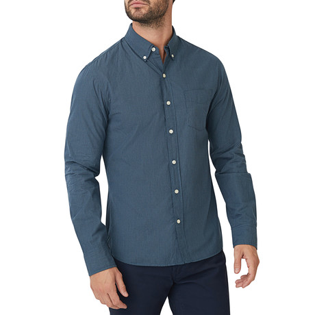 Belden Microcheck Button Down Shirt // Navy (S)