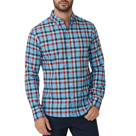 Gavin Checkered Oxford Button Down Shirt // Blue + Red (S)
