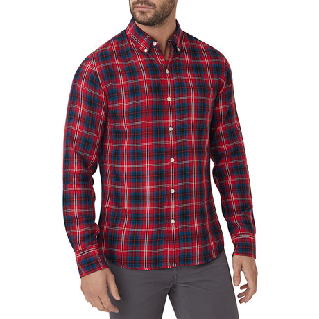 Brushed Kedzie Plaid Button Down Shirt // Red + Blue (S)