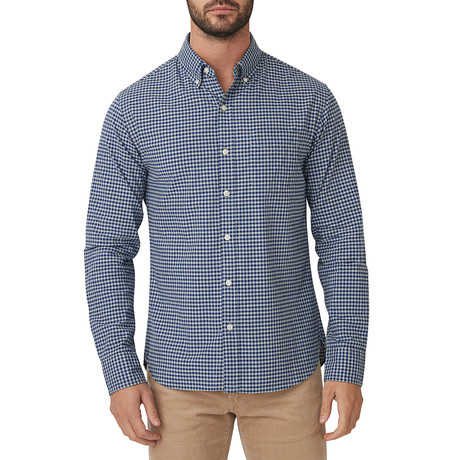Bay Blue Gingham Button Down Shirt // Bay Blue (S)