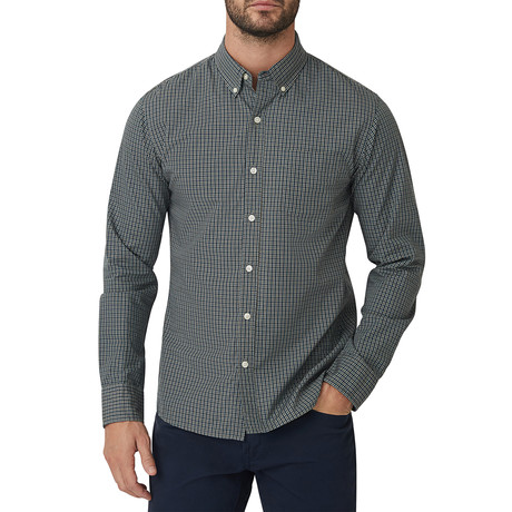 Rugby Micro Check Button Down Shirt // Green (S)