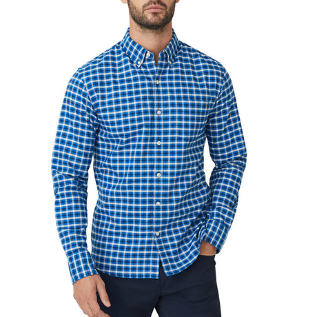 Brushed Marin Oxford Button Down Shirt // Blue (S)