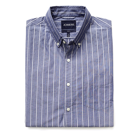 Delafield Stripe Button Down Shirt // Blue + White (S)