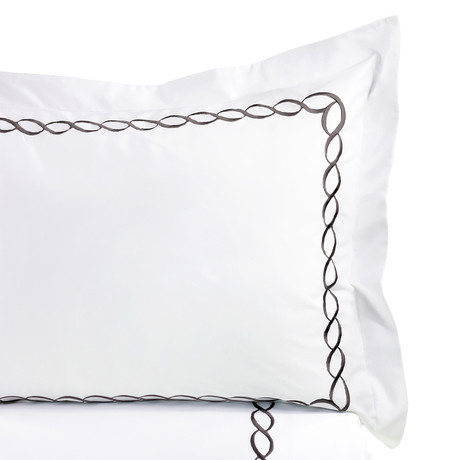 Rope Embroidered Duvet Set // 600TC // Charcoal // Full/Queen