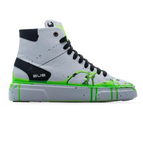 High Top Sneaker // White + Black + Green Neon (Euro: 39)