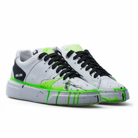 Low Top Sneaker // White + Black + Green Neon (Euro: 39)