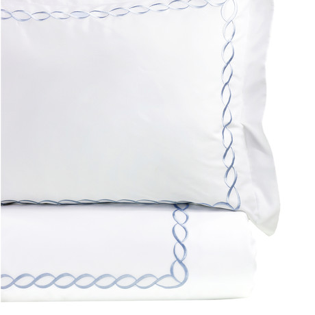 Rope Embroidered Duvet Set // 600TC // Blue (Full/Queen)