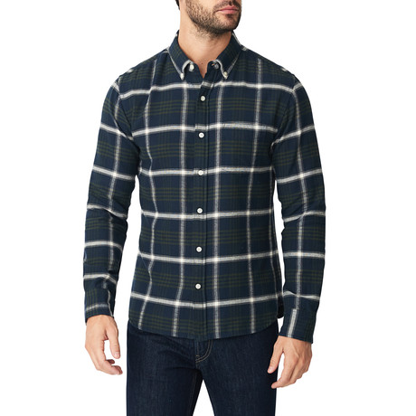 Atlas Plaid Flannel Button Down Shirt // Blue + Green + White (S)