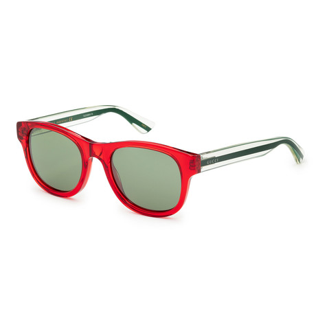 Unisex Core GG0003S-004 Sunglasses // Transparent Red + Green