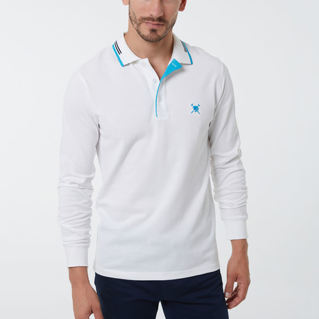 Auden Cavill // Tom Long Sleeve Polo // White (XS)
