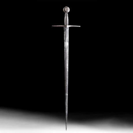 19th C. French Steel, Wood, & Brass Sword w/ Crest
