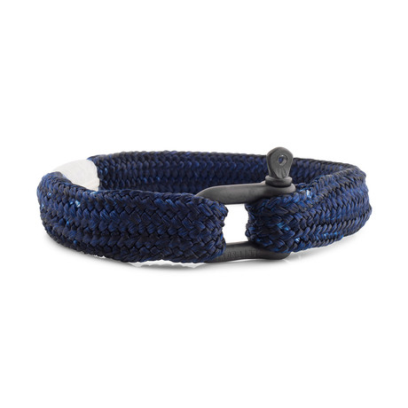"Oceans Shackle Bracelet // Black + Blue (7.1"")"