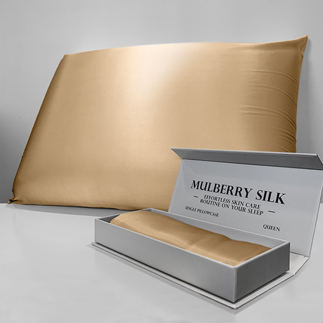 Mulberry Silk Pillowcase // Gold (Queen)