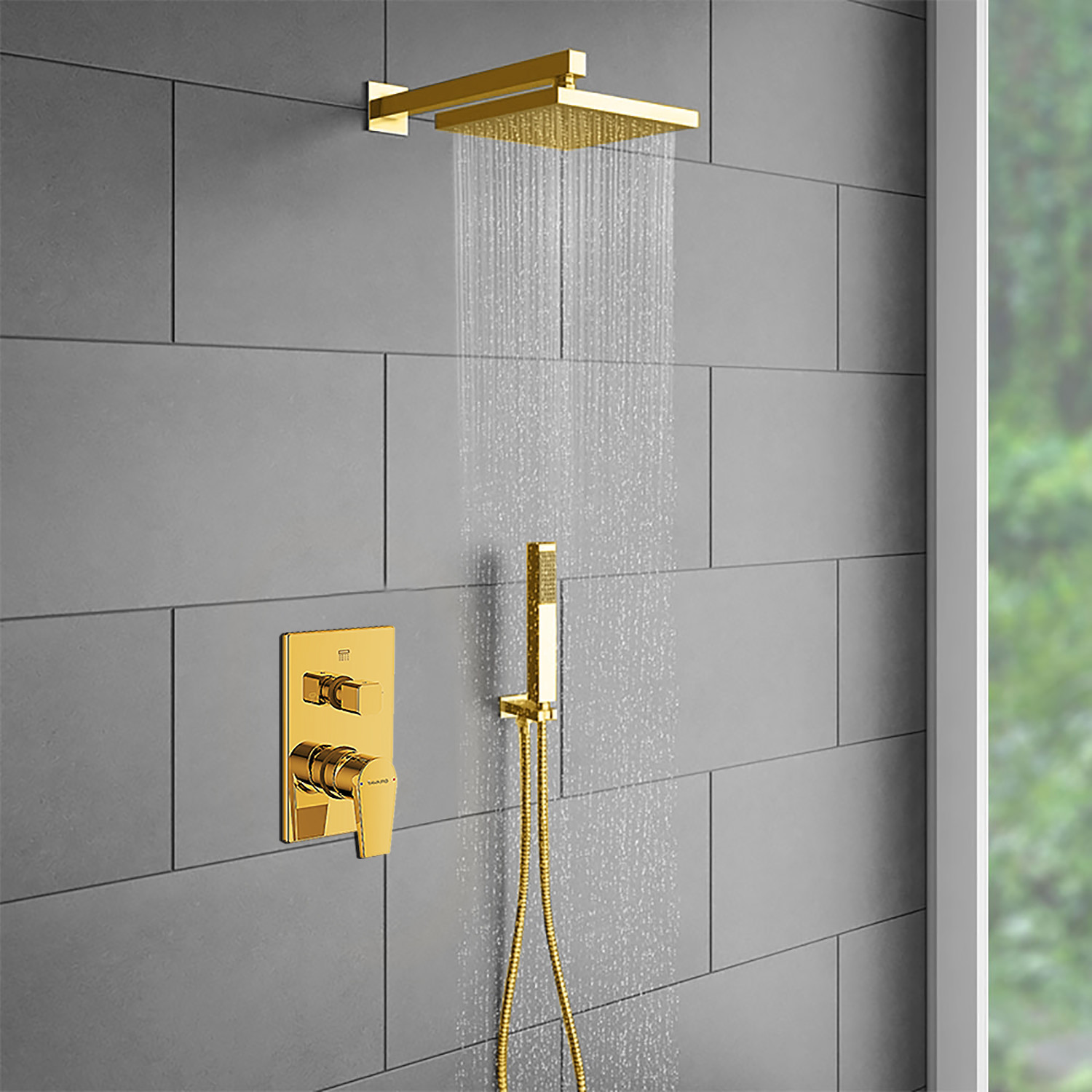Gold Plated Shower Head Set V 2 Hand