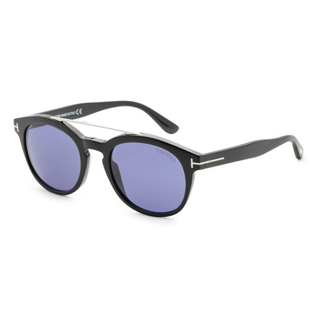 Unisex Newman Sunglasses // Shiny Black + Blue