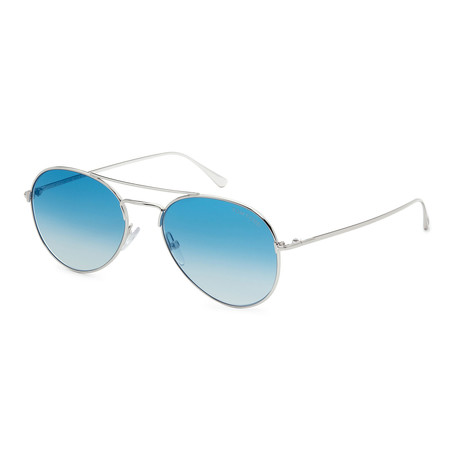 Unisex FT0551-18X Sunglasses // Shiny Rhodium + Blue Mirror