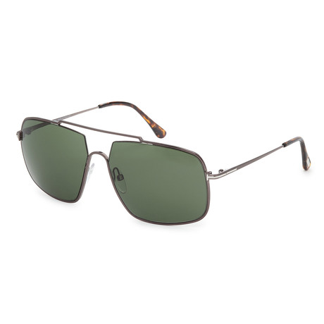 Men's FT0585-12N Sunglasses // Shiny Dark Ruthenium + Green