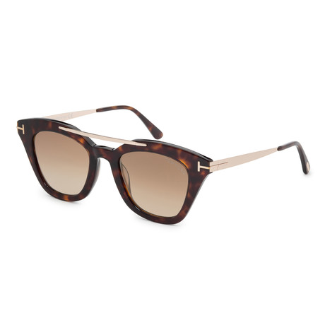 Women's FT0575-52G Sunglasses // Dark Havana + Brown Mirror