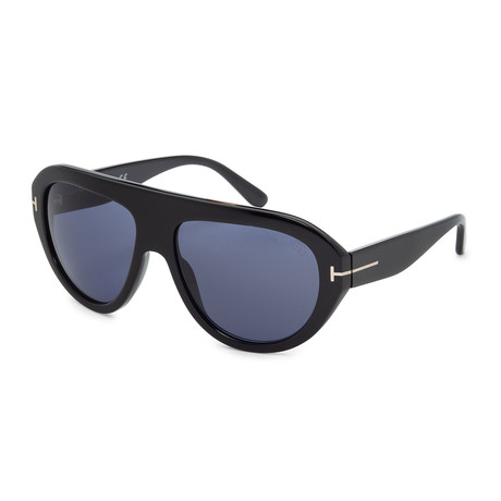 Men's Felix FT0589-01V Sunglasses // Shiny Black + Blue