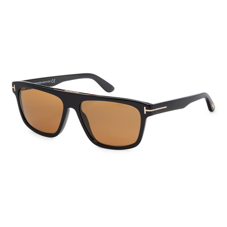 Men's FT0628-01E Sunglasses // Shiny Black + Brown