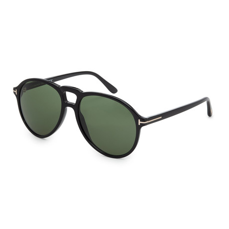 Men's FT0645-01N Sunglasses // Shiny Black + Green