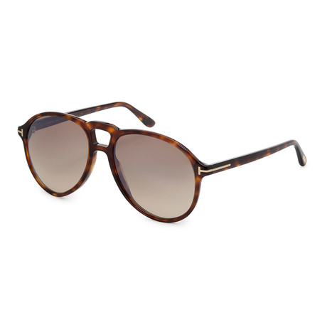 Men's FT0645-52G Sunglasses // Dark Havana + Brown Mirror