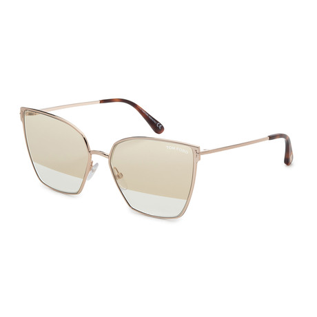 Women's FT0653-28B Sunglasses // Shiny Rose Gold + Smoke Gradient