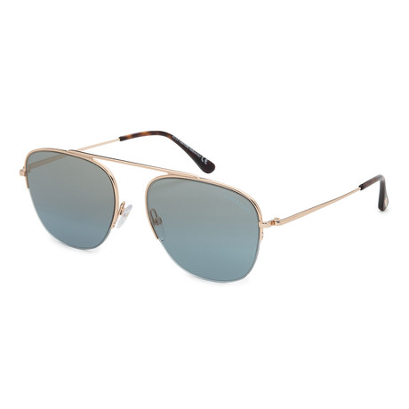 Men's FT0667-28X Sunglasses // Shiny Rose Gold + Blue Mirror
