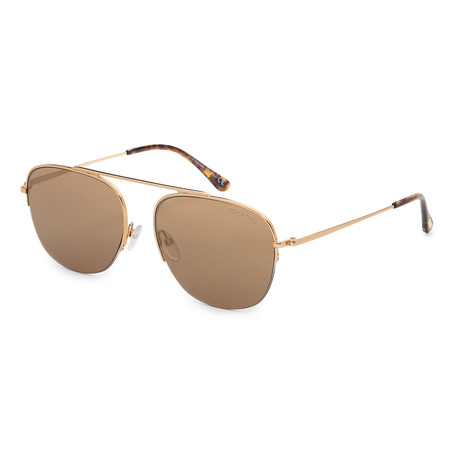 Men's FT0667-30G Sunglasses // Shiny Yellow Gold + Brown Mirror
