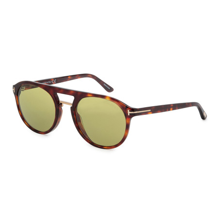 Men's FT0675-54N Sunglasses // Red Havana + Green