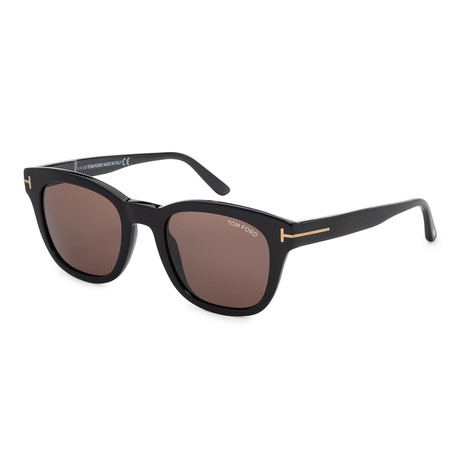 Men's FT0676-01E Sunglasses // Shiny Black + Brown