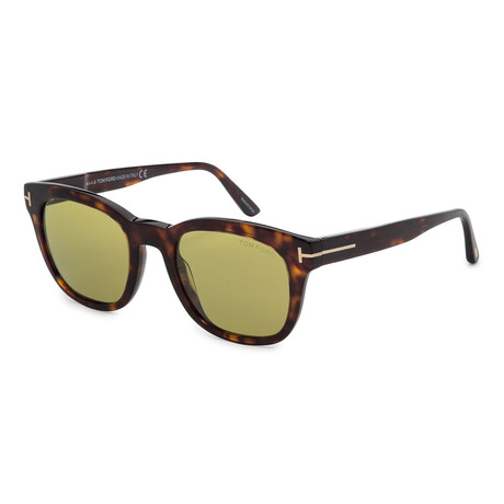 Men's FT0676-52N Sunglasses // Dark Havana + Green