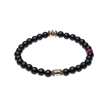Dell Arte // Black Onyx + African Ruby Bracelet // Black + Silver