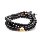 Jean Claude Jewelry // Handmade Buddha Beaded Bracelet // Black + Brown