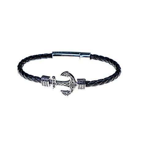 Dell Arte // Leather + Stainless Steel Anchor Bracelet // Black + Silver