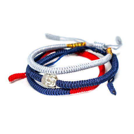 Jean Claude Jewelry // Handmade Tibetan Buddha Bracelet // Set of 3 // Blue + Red