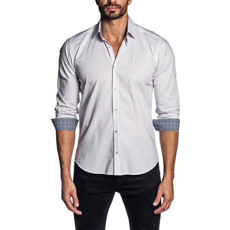 Jacquard Long Sleeve Shirt // White (S)