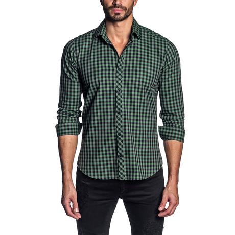 Checkered Long Sleeve Shirt // Green + Gray (S)