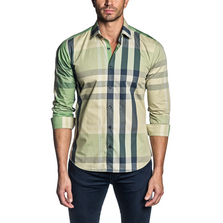 Plaid Long Sleeve Shirt // Green + Yellow (S)