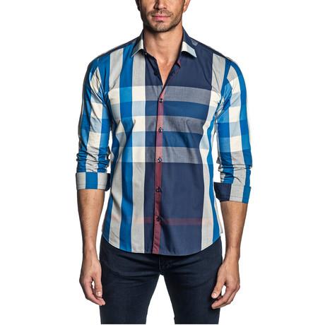 Plaid Long Sleeve Shirt // Blue + White (S)