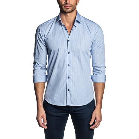 Striped Long Sleeve Shirt // Light Blue (S)